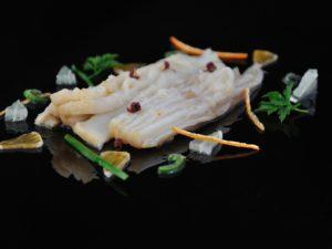 Escabeche de raie au citron vert et poivre de Sichuan