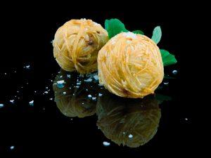 Pomme de terre au foie gras en echeveau