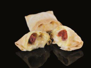Liquid chistorra sausage stuffed ravioli