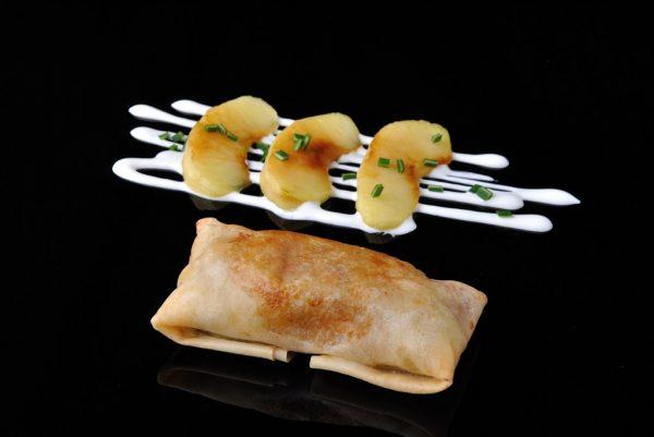 Crujiente de foie y manzana