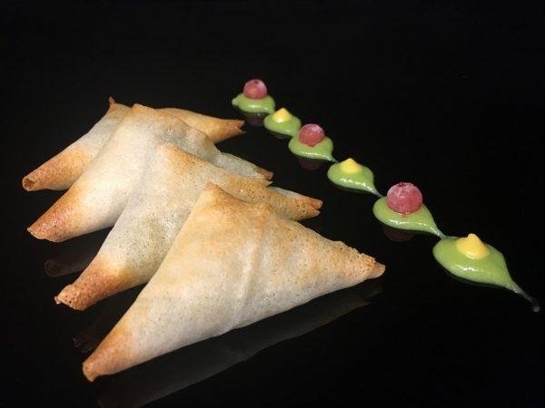 Triangulo de espinacas con bacalao